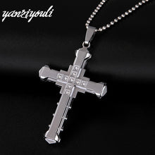 Load image into Gallery viewer, Male Crystal Cross Pendant Silver Gold Black Stainless Steel Zirconia Jesus Cross Pendant Necklace Jewelry For Men