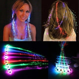 2Pcs LED Party Headwear Fiber Optic Wire Hairpin Luminous Silk Braids Halloween Party Headwear