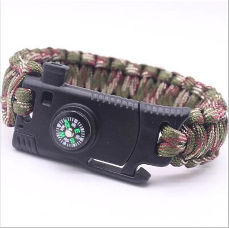 1pcs 5 In 1 Multifunction Outdoor Survival Gear Escape Paracord Bracelet Flint&Whistle&Compass Outdoor Camping Tools Bracelet Multifonction De Survie En Plein Air