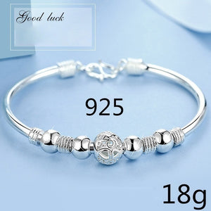 New 2018 Luxurious Design Womens 925 Sterling Silver Transfer Bead Bracelet Fashion Jewelry (Size: A B C)