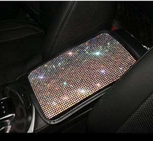 Car Armrest Cover BlingBling Charming Attractive Colorful Rhinestone Crystal Center Console Cushion Pad
