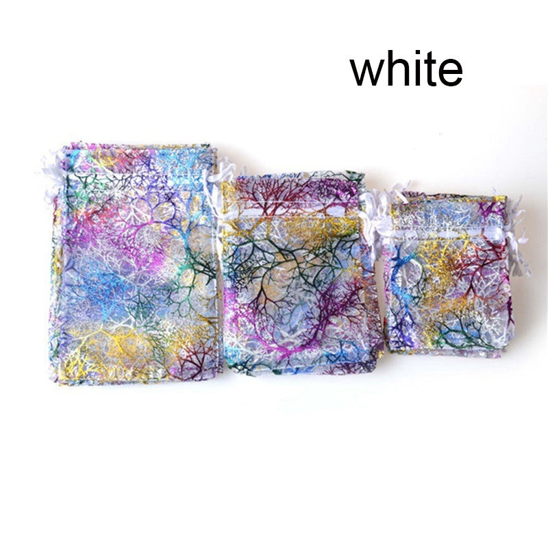 20Pcs Organza Bags Jewelry Bags Wedding Party Favors Decoration Gift Pouches ( Color:White,Blue )