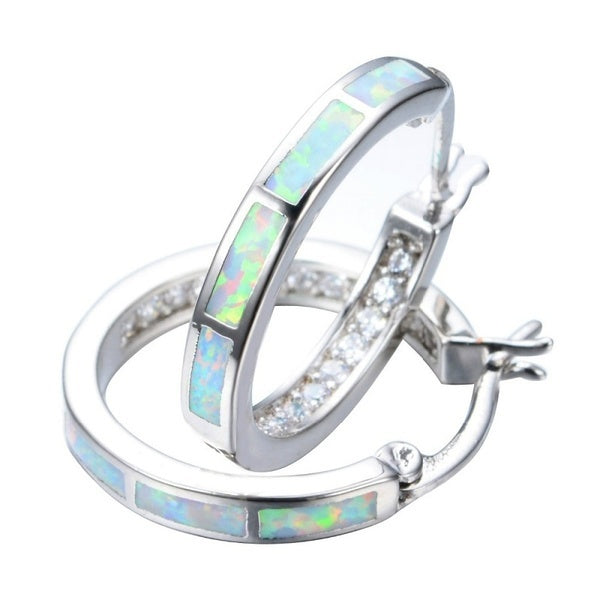 Women 925 Sterling Silver Fire Opal Circle Stud Earring