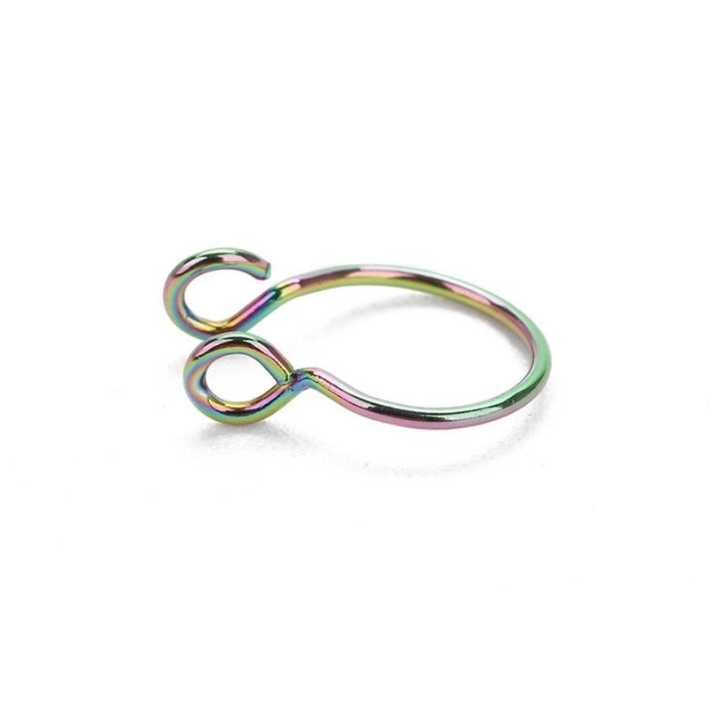 5pcs/Set FAKE Septum Ring/Fake Piercing/No Piercing/Septum Fake Piercing/Faux Septum Ring/Fake Nose Piercing Silver Gold Black
