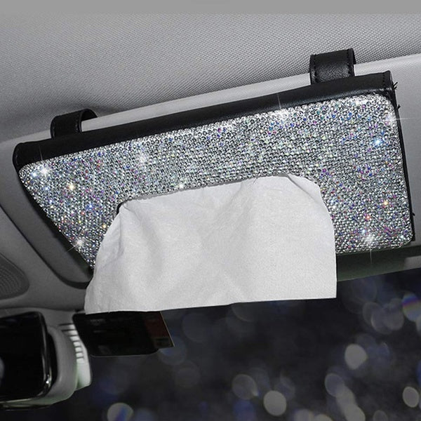 Bling Bling Car Visor Tissue Holder Leatherette Crystals Paper Towel Cover Case Car Sun Visor Tissue Box