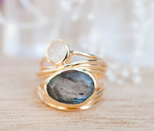 Load image into Gallery viewer, Unique Gold Ring 14K Gold Labradorite and Aqua Blue Shell Wedding Jewelry 6 7 8 9 10