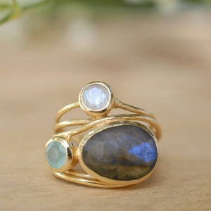 Unique Gold Ring 14K Gold Labradorite and Aqua Blue Shell Wedding Jewelry 6 7 8 9 10