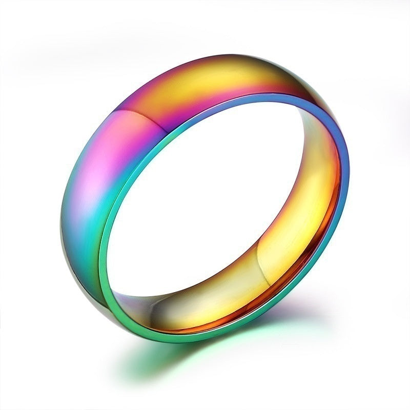 Classic Men Women Rainbow Colorful Ring Titanium Steel Wedding Band Ring Width 6mm Size 5-13 Valentines Day Gifts