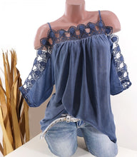 Load image into Gallery viewer, S-5XL Women Clothes Casual Off Shoulder Lace Collar Blouse Summer Loose Solid Color T Shirt