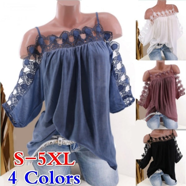 S-5XL Women Clothes Casual Off Shoulder Lace Collar Blouse Summer Loose Solid Color T Shirt