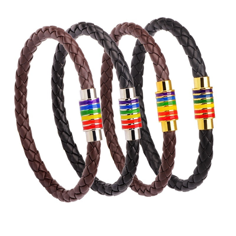 1PC Rainbow Colorful Gay Lesbian Bisexual Woven Leather Bracelet Jewelry