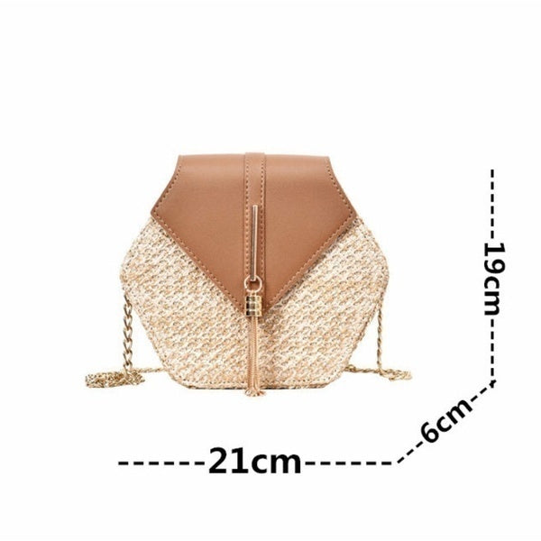 Hexagon Mulit Style Straw Bag Handbags Women Summer Rattan Bag Handmade Woven Beach Shoulder Messenger Bags