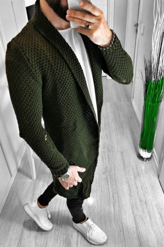 Autumn Winter Men Fashion Sweater Cardigan Long Sleeve Slim Fit Street Style Knitted Outfit Ripped Sweater Coat