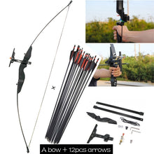Load image into Gallery viewer, 30/40 lbs M99 Nylon resin riser Aiming Straight bow Straight Pull Bow with 12pcs Archery Fiberglass Arrow Spine 500 30' Composite Fiberglass Arrow  for Archery hunting sports