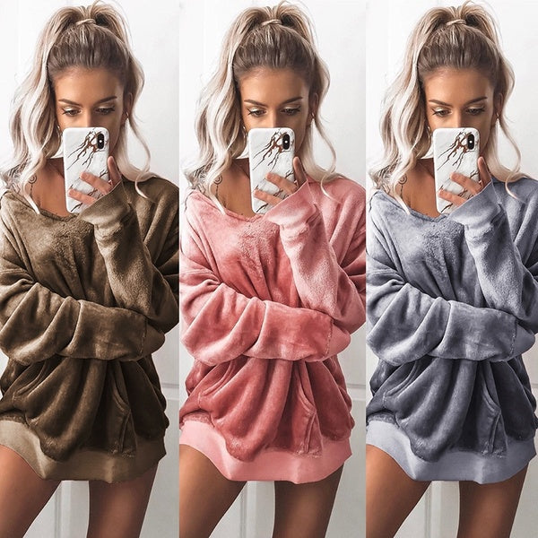 Women's Sweater Fleece Velvet Long-sleeved Jacket Sweater