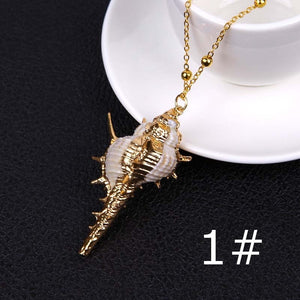 1PCS Summer Beach Natural Conch Shell Pendant Necklace Bohemia Ocean Seaside Necklace