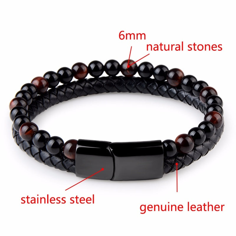 2019 Men's Fashion Jewelry Natural Stone Genuine Leather Bracelet Black Magnetic Clasp Stainless Steel Tiger Eye Bracelet