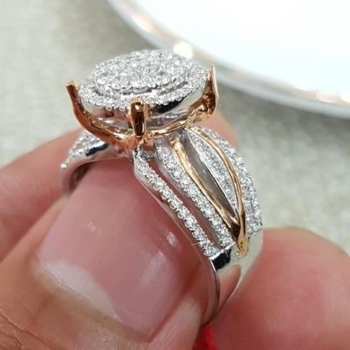 New fashion Micro-inlaid Diamond 14k Gold Two-tone Ring European and American Luxury Ladies Banquet Engagement Ring Jewelry Gift