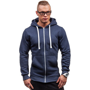 New Men's Fashion Hoodie Pure Color Slim Hooded