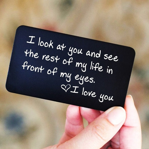 Perfect Valentine's Day Gift for Men! Engraved Wallet Insert, Wallet Card, Deployment Gift, Gift for Men, Unique Love Note, Be My Valentine