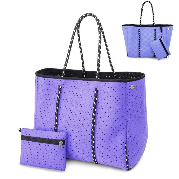 Neoprene Breathable Multi-purpose Women Beach Tote Bags with Clutch Purse and Removable Plate Trendy Large Casual Ladies Handbags
