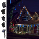 Socket 220v Powered / Solar Powered 30/50CM LED Lights Meteor Shower Rain Tube Snowfall Tree Christmas Outdoor Decor(US/UK/EU/AU)