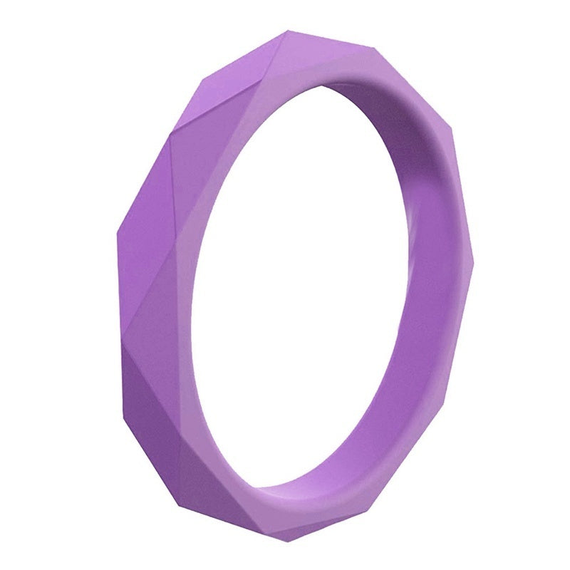 10Pcs Silicone Sports Rings Solid Color Rhombus For Men Women Couple Rubber Band Stackable Wedding Engagement Yoga Finger Rings