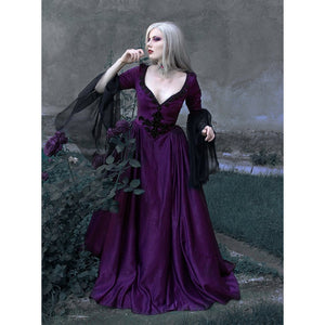 Women Vintage Medieval Dress Renaissance Gowns Dark Gothic Floor Length Dress Sexy V Neck Fantasy Cosplay Dresses
