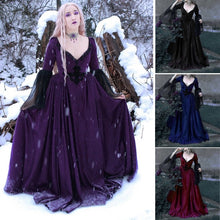Load image into Gallery viewer, Women Vintage Medieval Dress Renaissance Gowns Dark Gothic Floor Length Dress Sexy V Neck Fantasy Cosplay Dresses