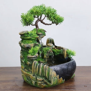 New Creative Indoor Simulation Resin Rockery Waterfall Statue Feng Shui Water Fountain Home Garden Crafts