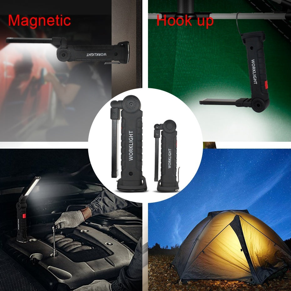 LED COB Rechargeable Magnetic Torch Flexible Inspection Lamp Cordless Work Light Emergency Lamp