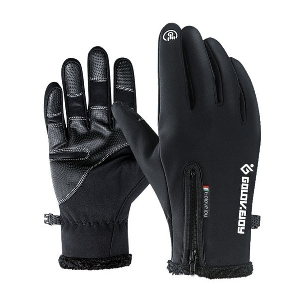 Winter Warm Fashion Unisex Fleece Outdoor Sports Waterproof Windproof Riding Bicycle Motorcycle Skiing Hiking Touch Screen Gloves