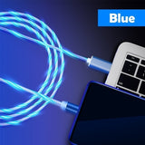 2019 new style,magnetic type ,Charger Cable Light Up Visible Flowing LED Lighting USB C to USB 2.0 Cable, available for iPhone/Android/Type C