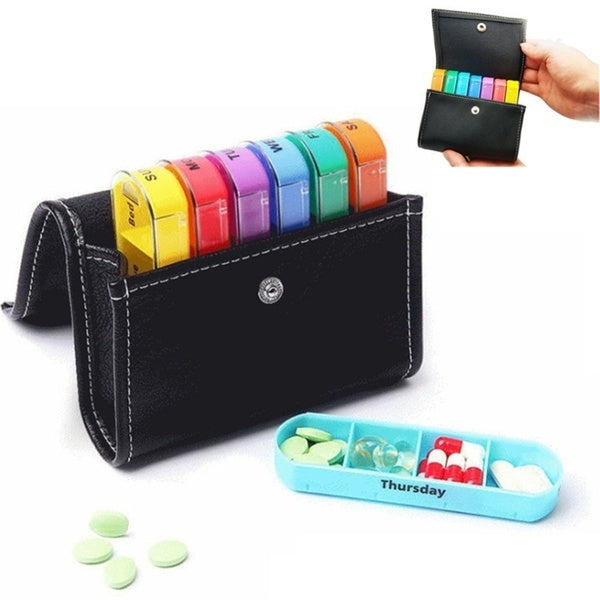 Weekly Pill Purse Travel Storage Dispenser Colorful Medicine Organizer Box Pill Tablet Container with PU Bag