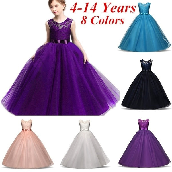 4-14 Years Elegant Princess Girls Long Sleeveless Lace Flower Tulle Tutu Dress for Evening Pageant Wedding Bridesmaid Party