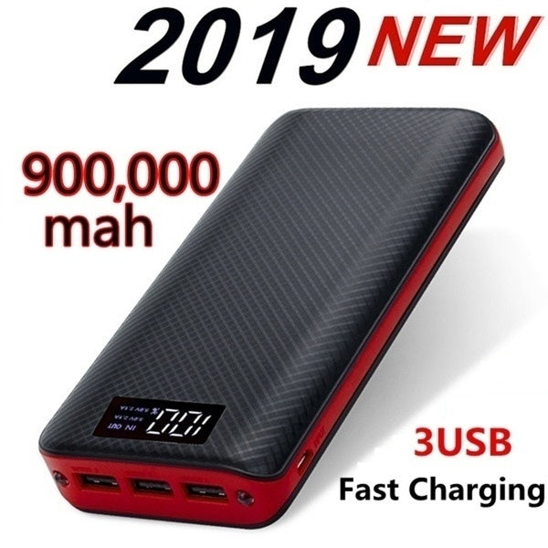 2019Best Gift !!! 900000mah Power Bank with 3 USB Output Ports Portable Charger External Battery mobile power bank with Dual Flashlights and LCD Display for Smartphones such as iphone Samsung Tablets and more