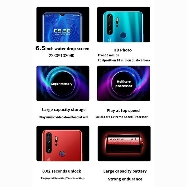 2019 Latest Design (RAM 8GB+ROM 128GB) 10 Cores Super Smartphone 6.3 Inch Face/Fingerprint Unlock Android 9.1 Full Screen 4G Net-work Cellphone - Speed up 65%