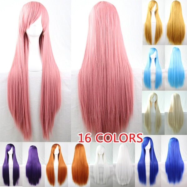 20 Colors Women Heat Resistant Pink Black Red White Blonde Anime Cosplay Party Long Straight Wigs Halloween Colorful Long Straight Wigs 32'