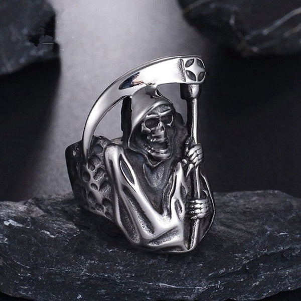 Vintage Gothic Punk Grim Reaper Skull Ring Stainless Steel Reaper'S Scythe Ring Party Biker Jewelry For Men Halloween Jewelry Gifts