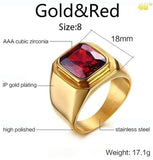 Men's Ring Simple Fashion Glaze 18K Gold Plated Filled Black Gemstone and Red Ruby Rings