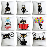 HD Double-Sided Printing Black Cat 45x45cm Microfiber Pillowcases Pillow Covers Cushion Cover Sofa Bedding Home Decor