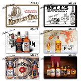 60 Kinds of Vintage Whiskey Metal Tin Signs Retro Man Cave Bar Pub Club Wall Decor (8'¡Á12')