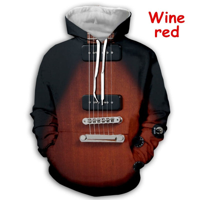 Newest Guitar Art 3D Print Fashion Sweatshirt Hoodies Unisex Funny Hooded Street Wear