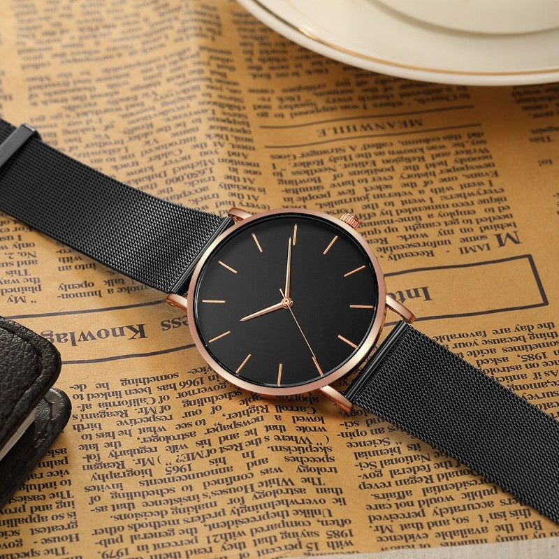 Mens Fashion Wristwatch Black Stainless Steel Mesh Band Calendar Quartz Watch Luxury Business Sports Clocks Uhren Herren Gifts For Men
