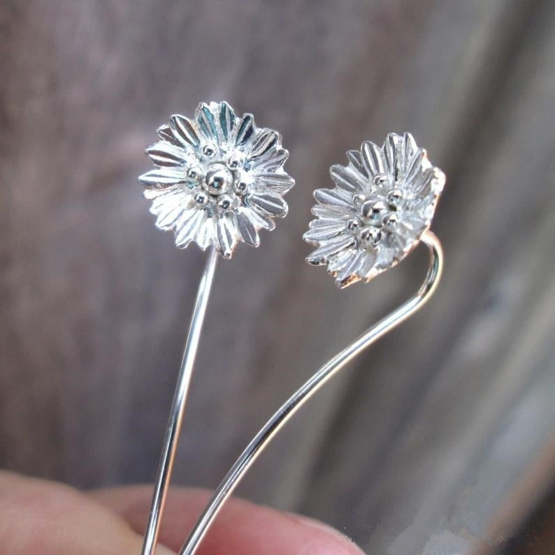 Shasta Daisy Flower Earrings 925 Solid Sterling Silver Earrings Jewelry Dangle Earrings Cute Small Stud Earrings Long Stem Earrings Threader