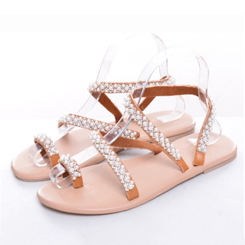 2019 New Vintage Fashion Women Leather Beading Flat Sandals Women Bohimia Beach Sandals Shoes