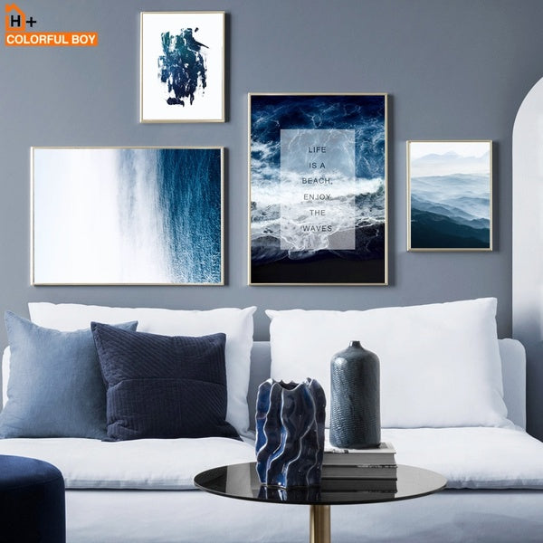 Canvas Art Print Sea Hill Abstract Canvas Painting Seascape Nordic Posters And Prints Wall Pictures For Living Room Kids Decor