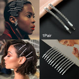 1Pair Korea Style Shiny Hair Jewelry Accessories Rhinestones Hairpins  Crystal Hairgrip Hair Clips Metal Barrette