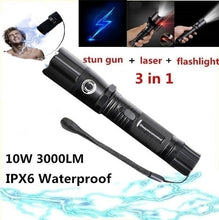 Load image into Gallery viewer, laser Lightning Electric Shock Flashlight Mini Stun Gun Torch Emergency Rechargeable Flashlight Electric Shock Stick