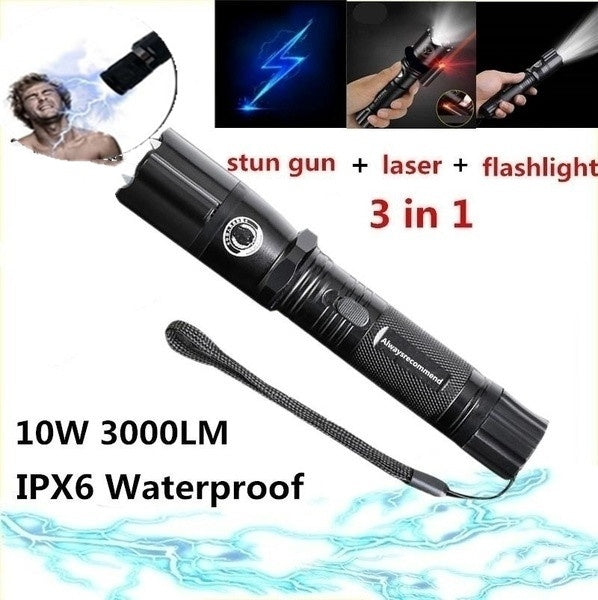 laser Lightning Electric Shock Flashlight Mini Stun Gun Torch Emergency Rechargeable Flashlight Electric Shock Stick